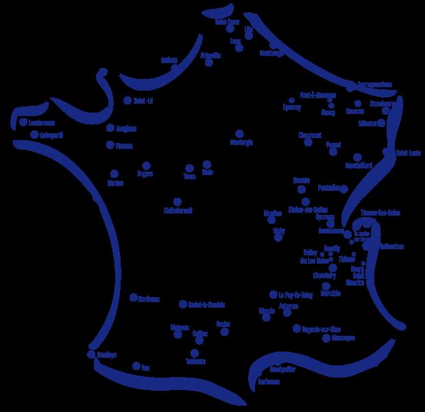 Carte de développement des magasins Bureau Vallée